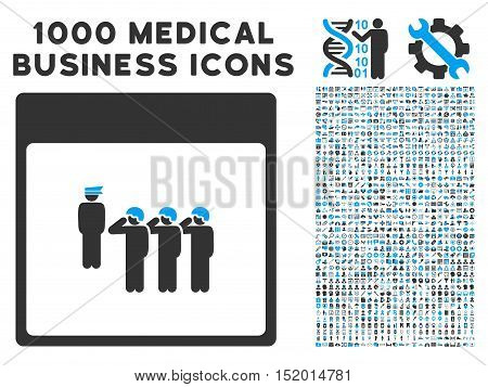 Blue And Gray Army Squad Calendar Page vector icon with 1000 medical business pictograms. Set style is flat bicolor symbols, blue and gray colors, white background.