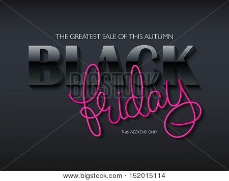 vector illustration of black friday poster with 3d and hand lettering text.