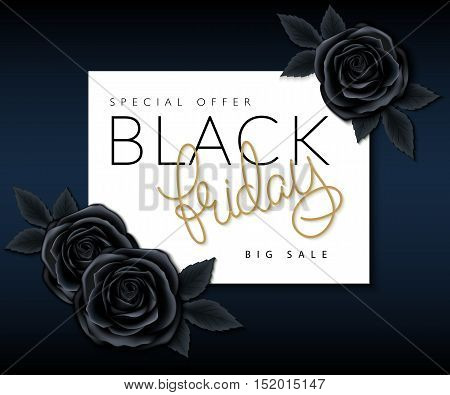 vector illustration of black friday banner with hand lettering golden word - friday and black roses.
