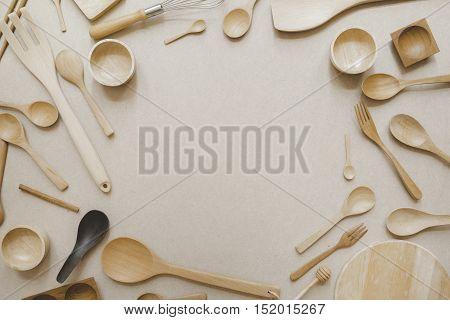 various kitchen utensils retro filter effect, top view