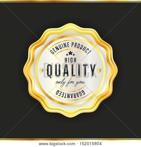 Gold seal vintage style isolated vector illustration. Seal icon. High quality guaranteed gold seal. Stamp of high quality. Golden badge. Gold award or medal of quality.