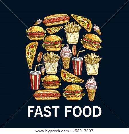 Fast food dishes in a shape of french fries in box with sketched hamburger, pizza, hot dog, sweet soda cup, fries, cheeseburger and strawberry ice cream cone