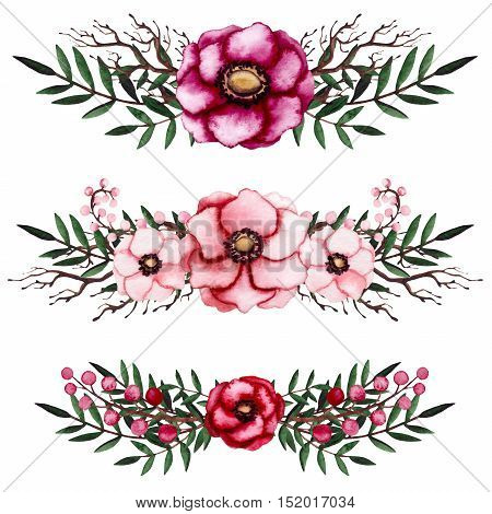Set of Watercolor Bouquets with Crimson Flowers and Deep Green Leaves