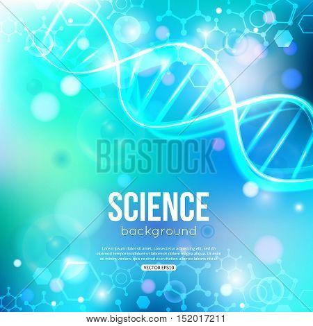 DNA on blue background biotechnology and medicine. Vector illustration EPS 10 format