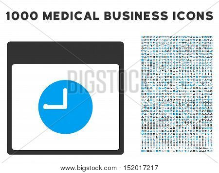 Blue And Gray Clock Calendar Page vector icon with 1000 medical business pictograms. Set style is flat bicolor symbols, blue and gray colors, white background.