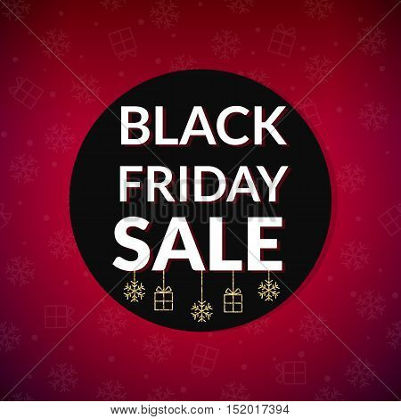 Black Friday Sale round banner with Gold glitter baubles on red background. Vector illustration