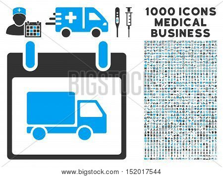 Blue And Gray Delivery Car Calendar Day vector icon with 1000 medical business pictograms. Set style is flat bicolor symbols, blue and gray colors, white background.