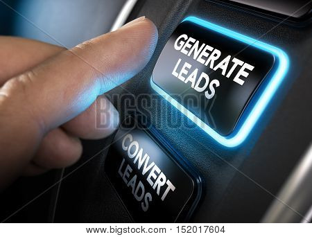 Hand about to press a generate leads button with blue light over black background. Concept of lead management. Composite between a photography and a 3D background. Horizontal image