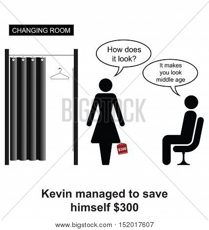 Kevin saved himself $300 whilst clothes shopping with the wife cartoon isolated on white background