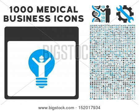 Blue And Gray Electrician Calendar Page vector icon with 1000 medical business pictograms. Set style is flat bicolor symbols, blue and gray colors, white background.