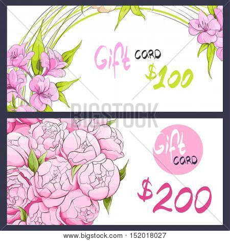 Pink peonies and alstroemeria on the gift card
