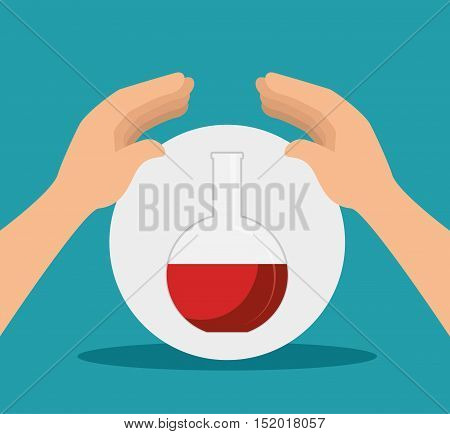 human hands with florence flask chemistry bottle over white circle and blue background. vector illustration