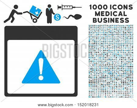 Blue And Gray Error Calendar Page vector icon with 1000 medical business pictograms. Set style is flat bicolor symbols, blue and gray colors, white background.