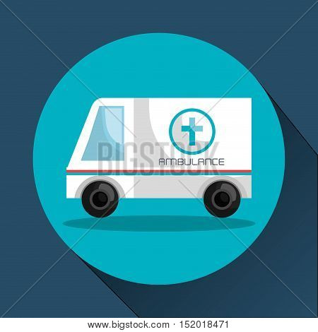 medical ambulance vehicle over blue circle and background. vector illustration