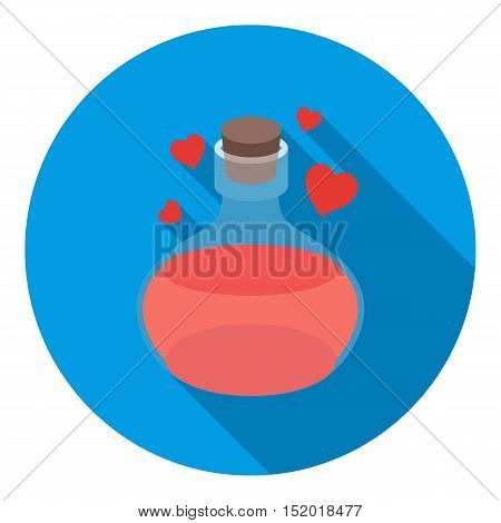 Love potion icon in flat style isolated on white background. Black and white magic symbol vector illustration.