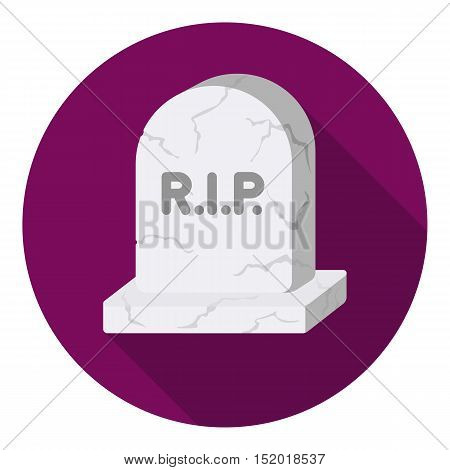 Headstone icon in flat style isolated on white background. Black and white magic symbol vector illustration.