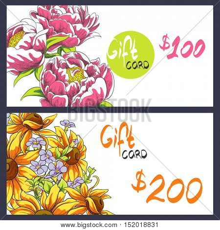 bright peonies and sunflowers gift card