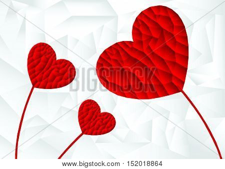 polygon red heart arrange in flower shape with white background, vector, illustration, copy space for text, valentine day, A4 size, cover paper, landscape