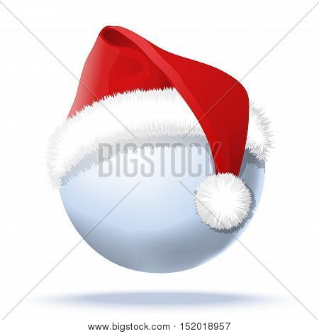 Snowball and santa red hat on it. Isolated vector illustration with light shadow under snowball
