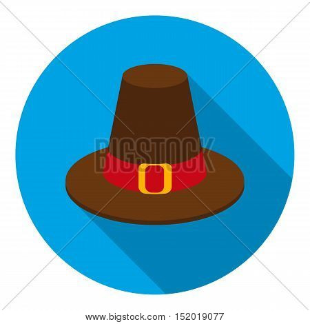 Pilgrim hat icon in flat style isolated on white background. Canadian Thanksgiving Day symbol vector illustration.