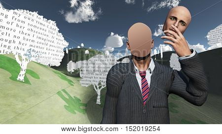 Man showing blank in landscape with text paper trees 3D Render