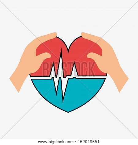 human hand with cardio pulse heart icon over white background. vector illustration