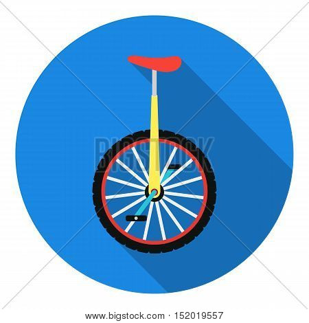 Monocycle icon in flat style isolated on white background. Circus symbol vector illustration.