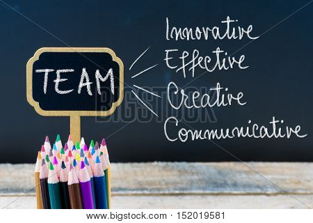 Business Acronym Team Innovative Effective Creative Communicative Written With Chalk On Wooden Mini