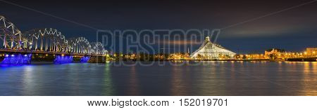Nocturnal panoramic view on the center of Riga, Latvia