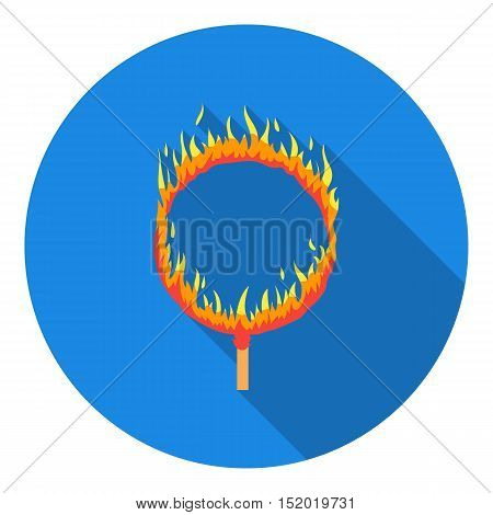 Burning hoop icon in flat style isolated on white background. Circus symbol vector illustration.