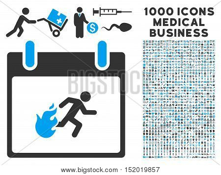 Blue And Gray Fire Evacuation Man Calendar Day vector icon with 1000 medical business pictograms. Set style is flat bicolor symbols, blue and gray colors, white background.