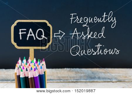 Business Acronym Faq Frequently Asked Questions Written With Chalk On Wooden Mini Blackboard Labels