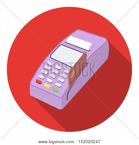 POS terminal icon in flat style isolated on white background. E-commerce symbol vector illustration.