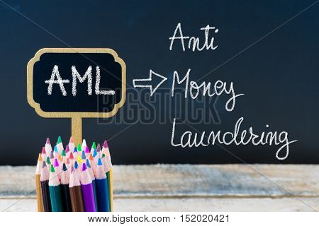 Business Acronym Aml Anti Money Laundering Written With Chalk On Wooden Mini Blackboard Labels