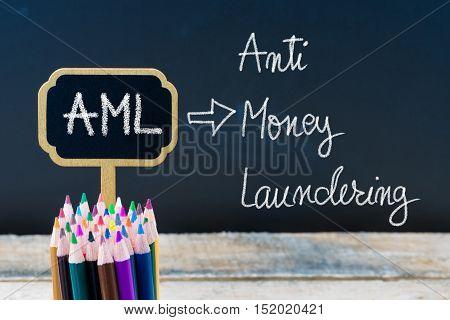 Business Acronym Aml Anti Money Laundering Written With Chalk On Wooden Mini Blackboard Labels