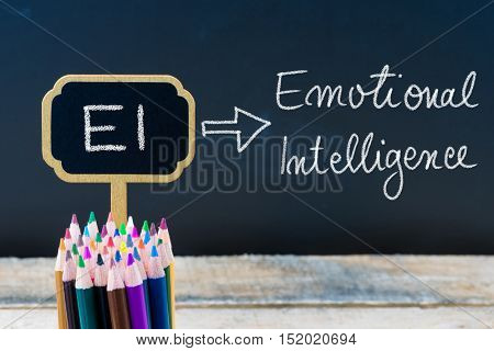 Business Acronym Ei Emotional Intelligence Written With Chalk On Wooden Mini Blackboard Labels