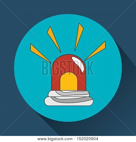 red and yellow siren emergency alarm over blue circle and background. vector illustration