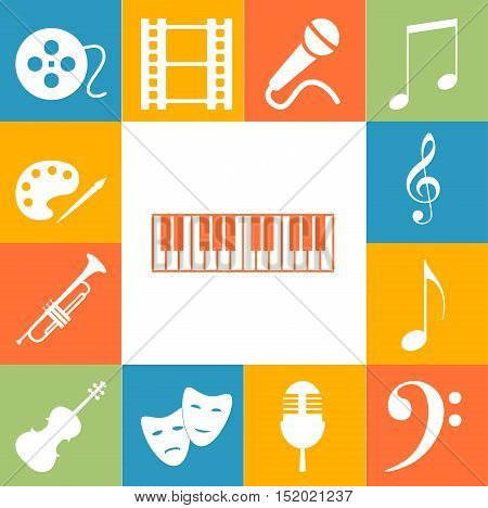 Music Art Signs Colorfull Set. Vector Icon Illustration