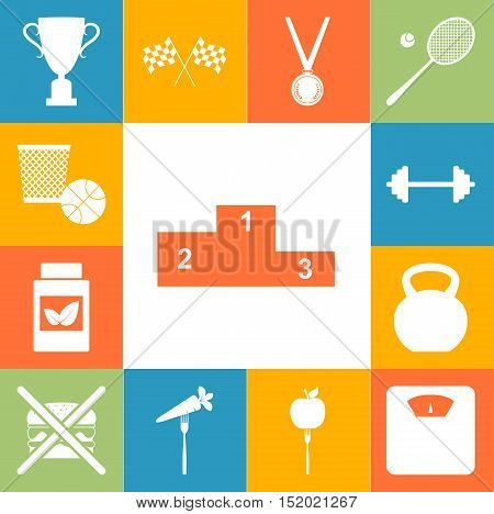 Sport And Healty Signs Colorfull Set. Vector Illustration