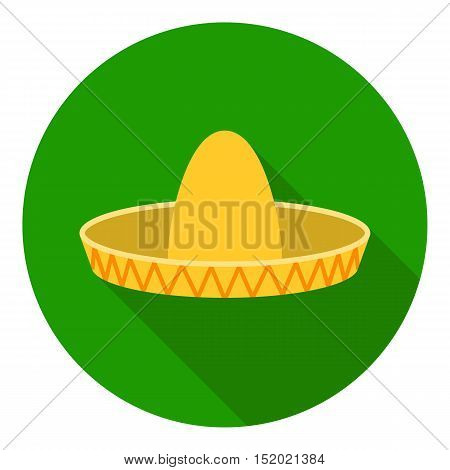 Sombrero icon in flat style isolated on white background. Hats symbol vector illustration.