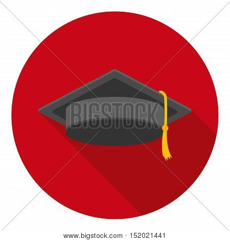 Graduation cap icon in flat style isolated on white background. Hats symbol vector illustration.