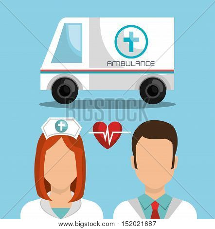 medical ambulance vehicle and avatar doctor and nurse over blue background. vector illustration