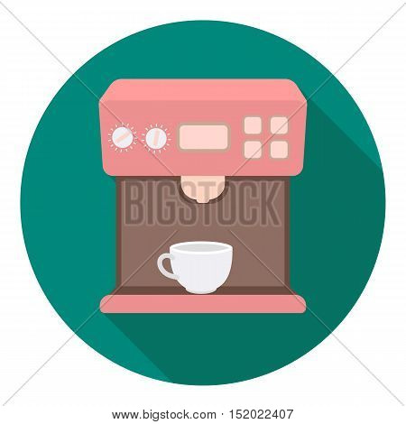 Coffeemaker icon in flat style isolated on white background. Household appliance symbol vector illustration.