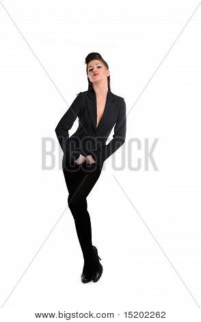 Beautiful Sexy Fashion Model Woman In Formal Suit.isolated