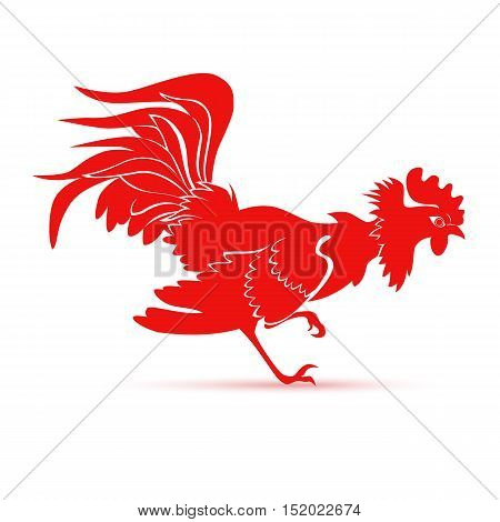 Red cock symbol 2017 by the Chinese calendar. Fire rooster logo template. Vector illustration eps 10 format.