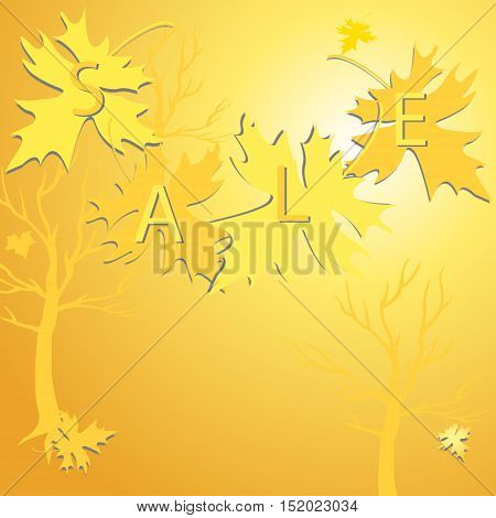 Background Of  Gold  Leaves And Sale