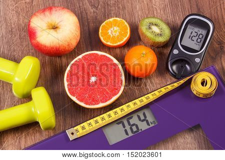 Electronic Bathroom Scale And Glucometer With Result Of Measurement, Centimeter, Healthy Food And Du