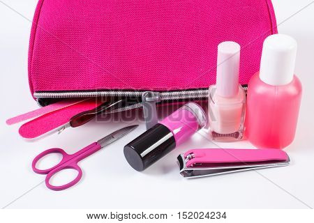 Cosmetics And Set Of Manicure Or Pedicure Tools With Pink Bag Cosmetic, Concept Of Nail Care