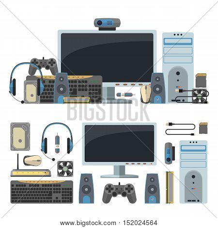 Computer technology objects isolated in white background. Vector design elements and icons in flat style.