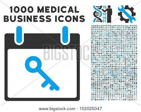 Blue And Gray Key Calendar Day vector icon with 1000 medical business pictograms. Set style is flat bicolor symbols, blue and gray colors, white background.